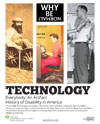 The poster has three vertical images: a bearded man in a self-propelled cart (1860s), a woman typing on a teletypewriter (1940s), and a man with a shoulder harness and artificial arm (1947).