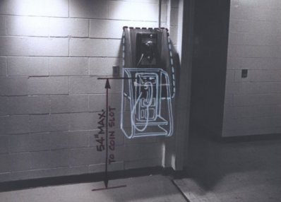 photograph illustration black white color phone booth disability history america