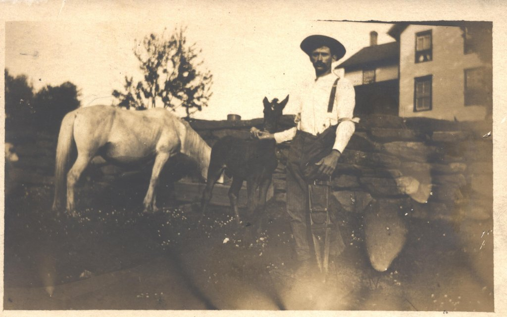 livestock and man on crutch sepia photograph disability history america