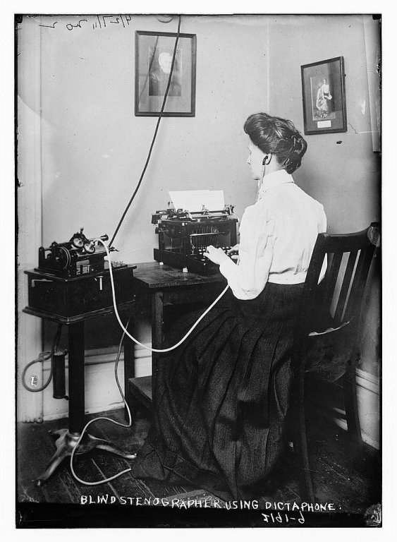 blind stenographer using dictaphone disability history america