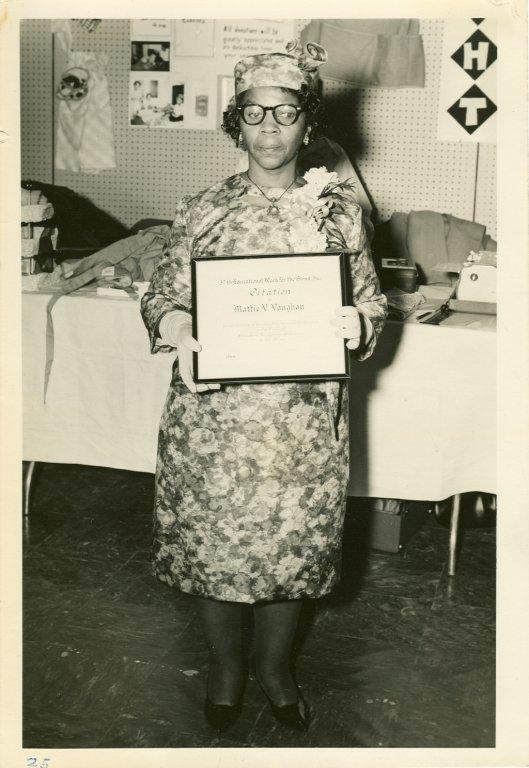 mattie vaughn displaying award black white photograph disability history america