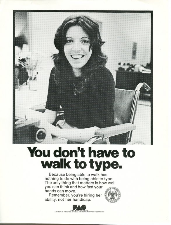 you don't have to walk to type pas advertisement disability history america