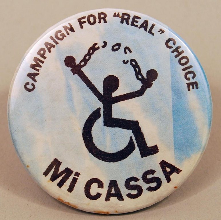mi cassa button disability history america