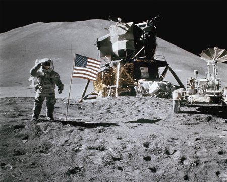 american astronaut on moon color photograph disability history america