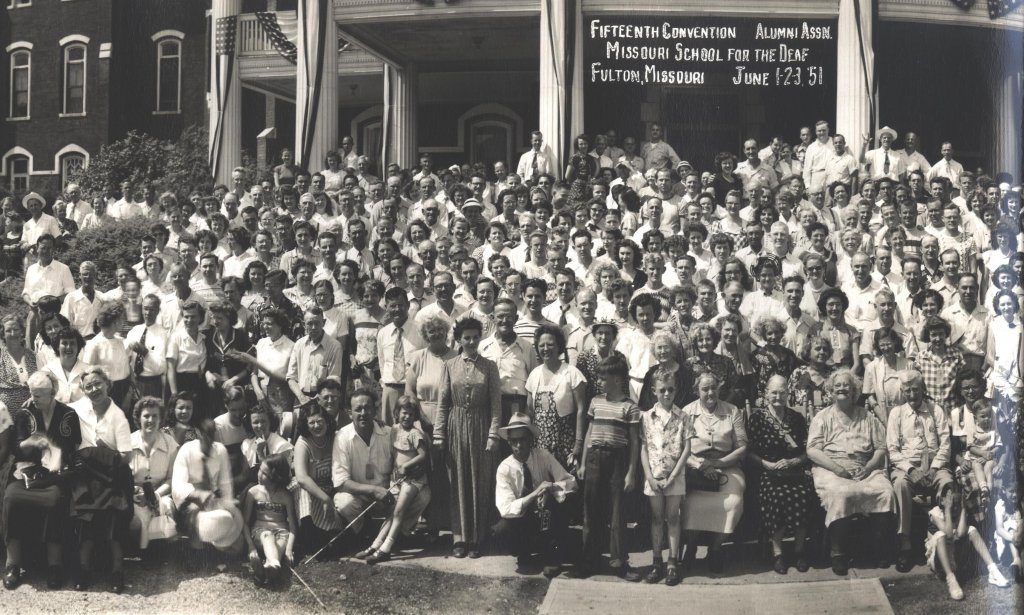 missouri school for the deaf reunion black white photograph symposium audience color photograph disability history america