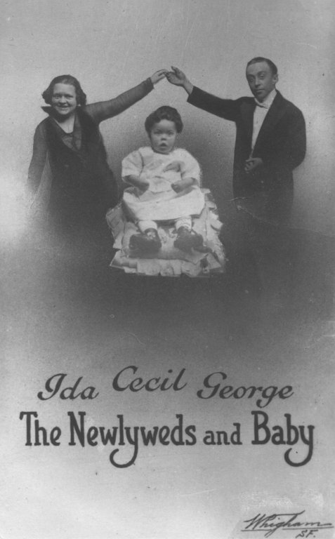newlyweds and baby family black white photograph disability history america