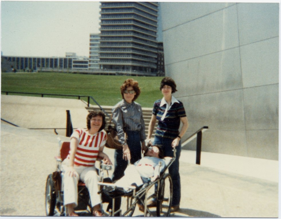 friends outside gathered in color photograph