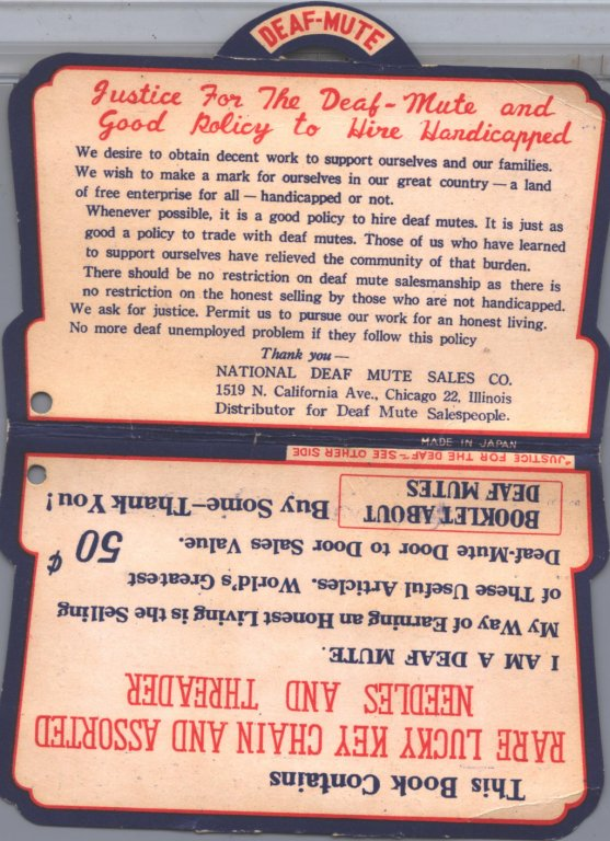 back of card of needles box disability history america