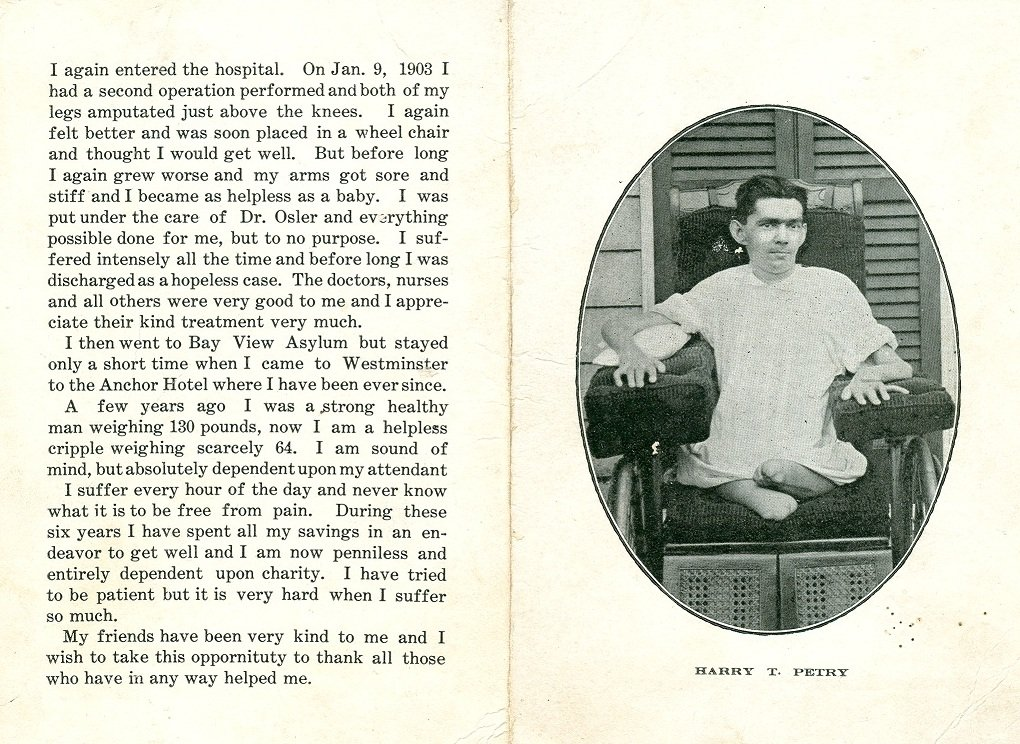 black white photograph of man with life story in text disability history america