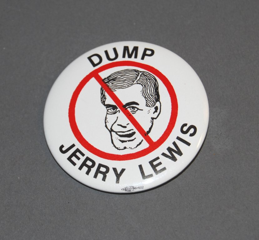 """A button reads """"Dump Jerry"""" and shows a drawing of Lewis's face crossed out."""