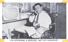 man working on telephone disability history america