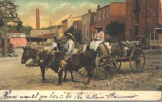 man woman livestock in town color illustration disability history america