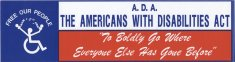 ADA bumper sticker image color disability history america
