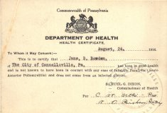 Pennsylvania department of health signed certificate