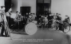 convalescent home for hebrew children males black white photograph disability america