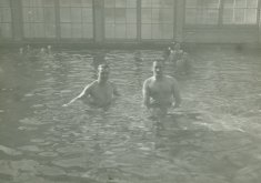 adult males swim black white photograph disability america