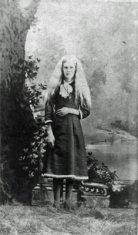 young female exterior portrait black white photograph