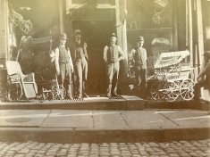 men gather outside store sepia photograph disability history america