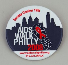 aids walk philly 2008 button