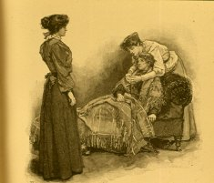 three women around couch black white illustration disability history america