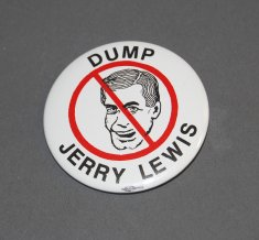 "A button reads ""Dump Jerry"" and shows a drawing of Lewis's face crossed out."